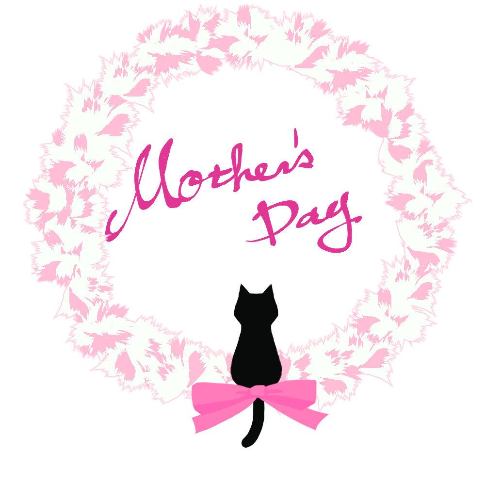 【母の日】カーネーションと黒猫シルエットホワイト