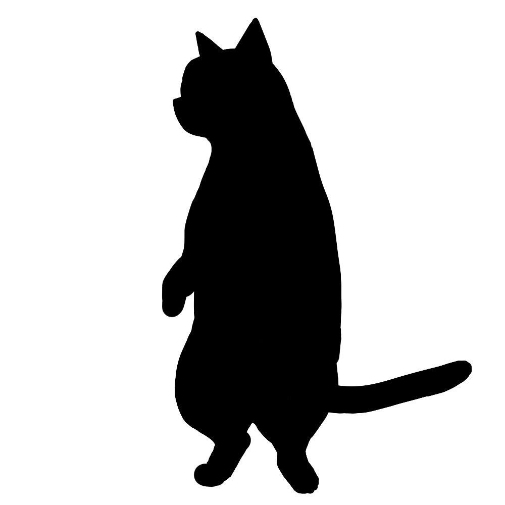 シルエット後ろ足で立つ猫