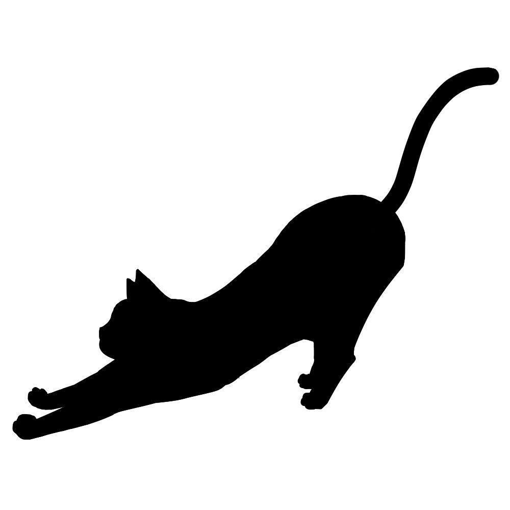 シルエットのびる猫
