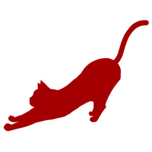 シルエットのびる猫レッド
