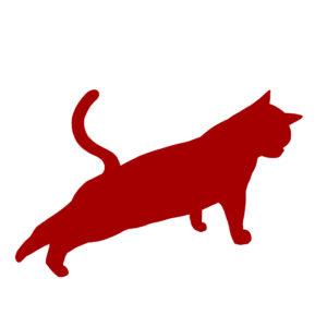 シルエット後ろ足をのばす猫レッド