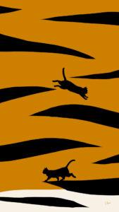 スマホ用壁紙トラ柄と猫のシルエット