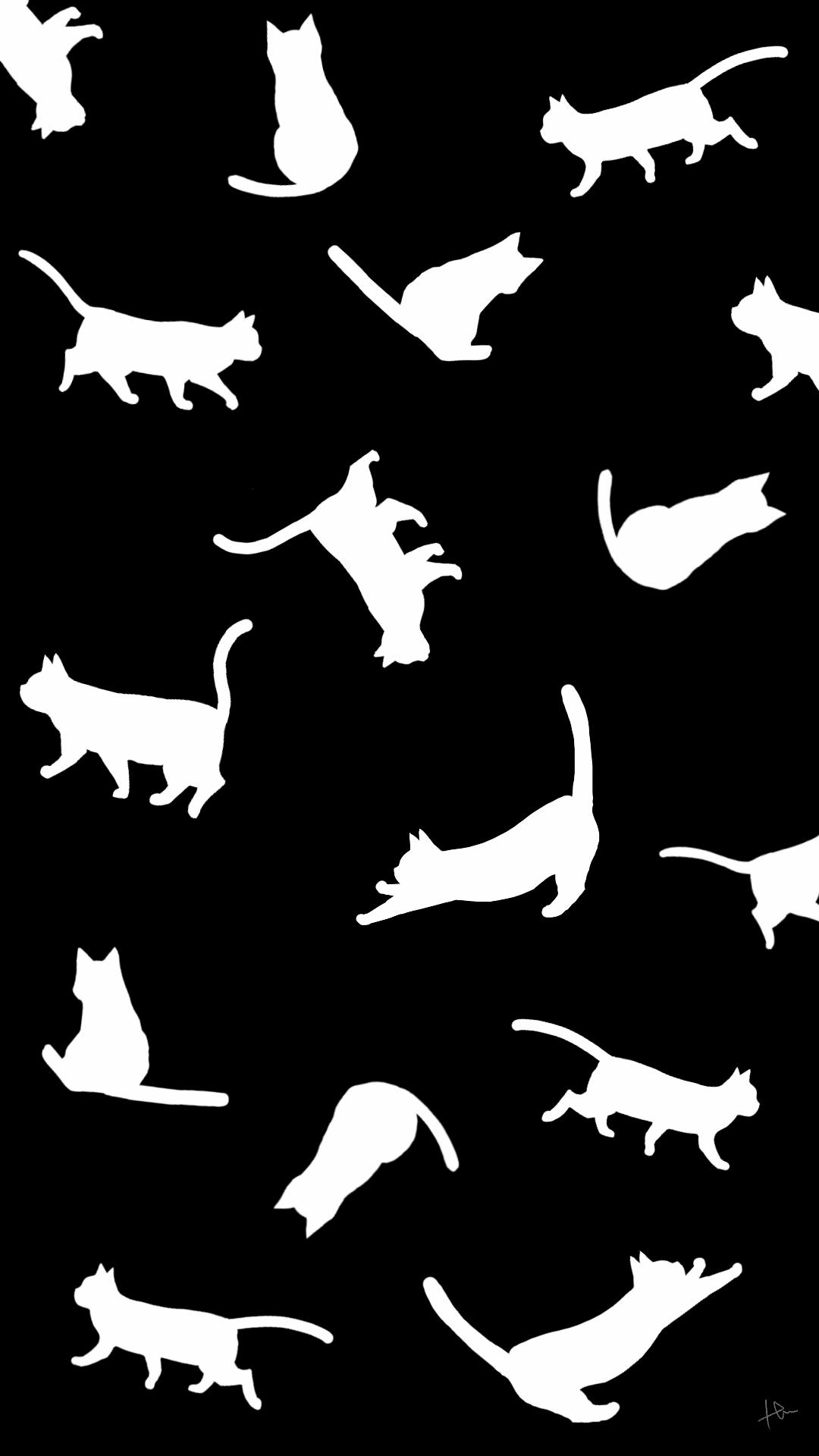 壁紙たくさんの猫のシルエットブラックホワイト