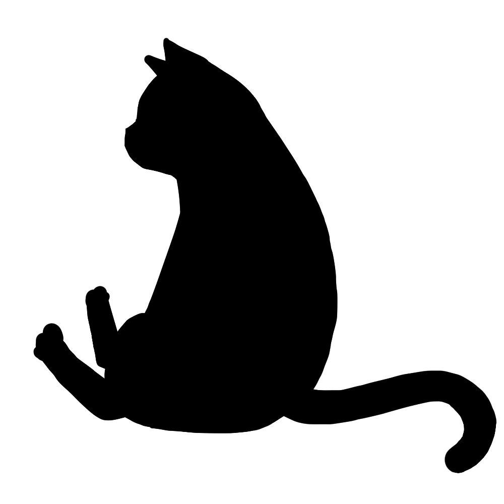 猫イラストシルエットおすわり猫6ブラック
