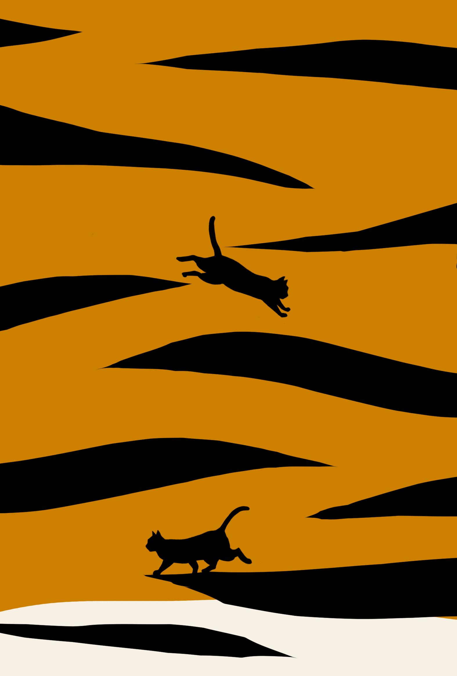 寅年年賀状トラ柄と猫のシルエット