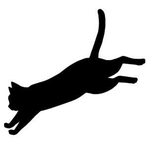 猫イラストシルエットジャンプする猫ブラック