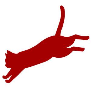 猫イラストシルエットジャンプする猫レッド
