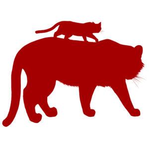シルエット虎と猫レッド