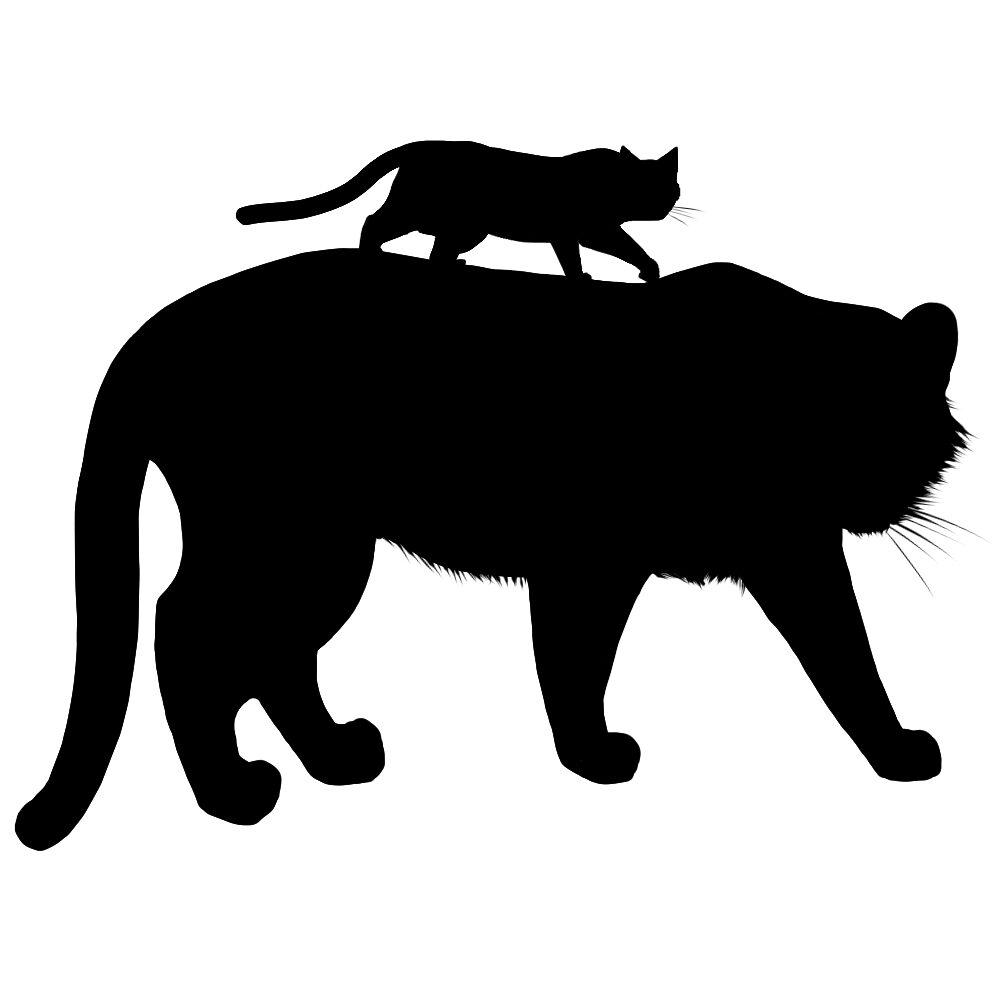 シルエット虎と猫ブラック