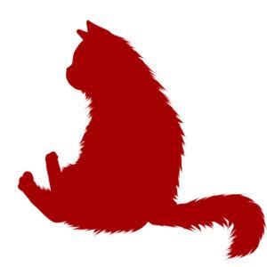 猫イラストシルエットおすわり猫7レッド