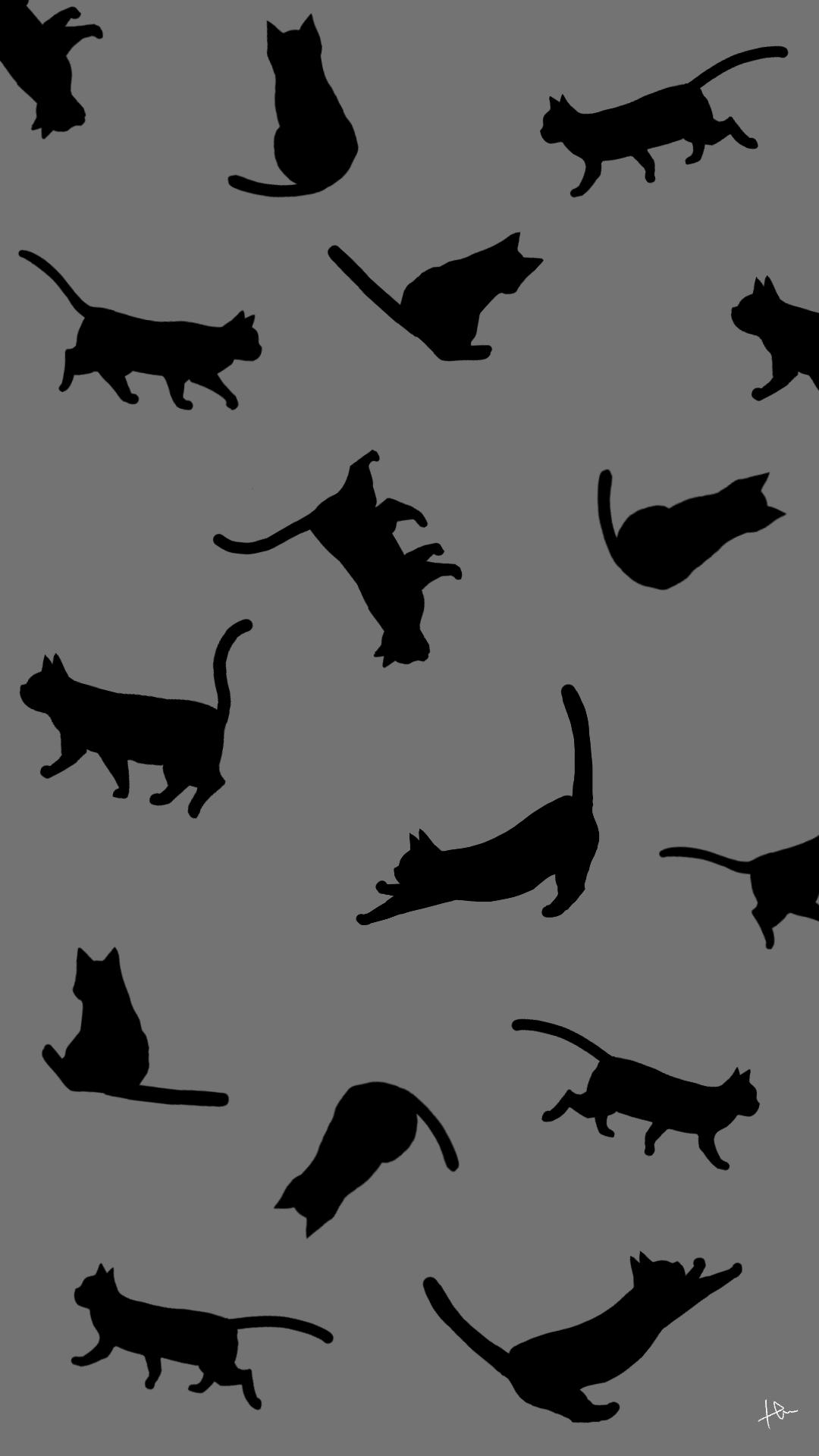壁紙たくさんの猫のシルエットグレーブラック