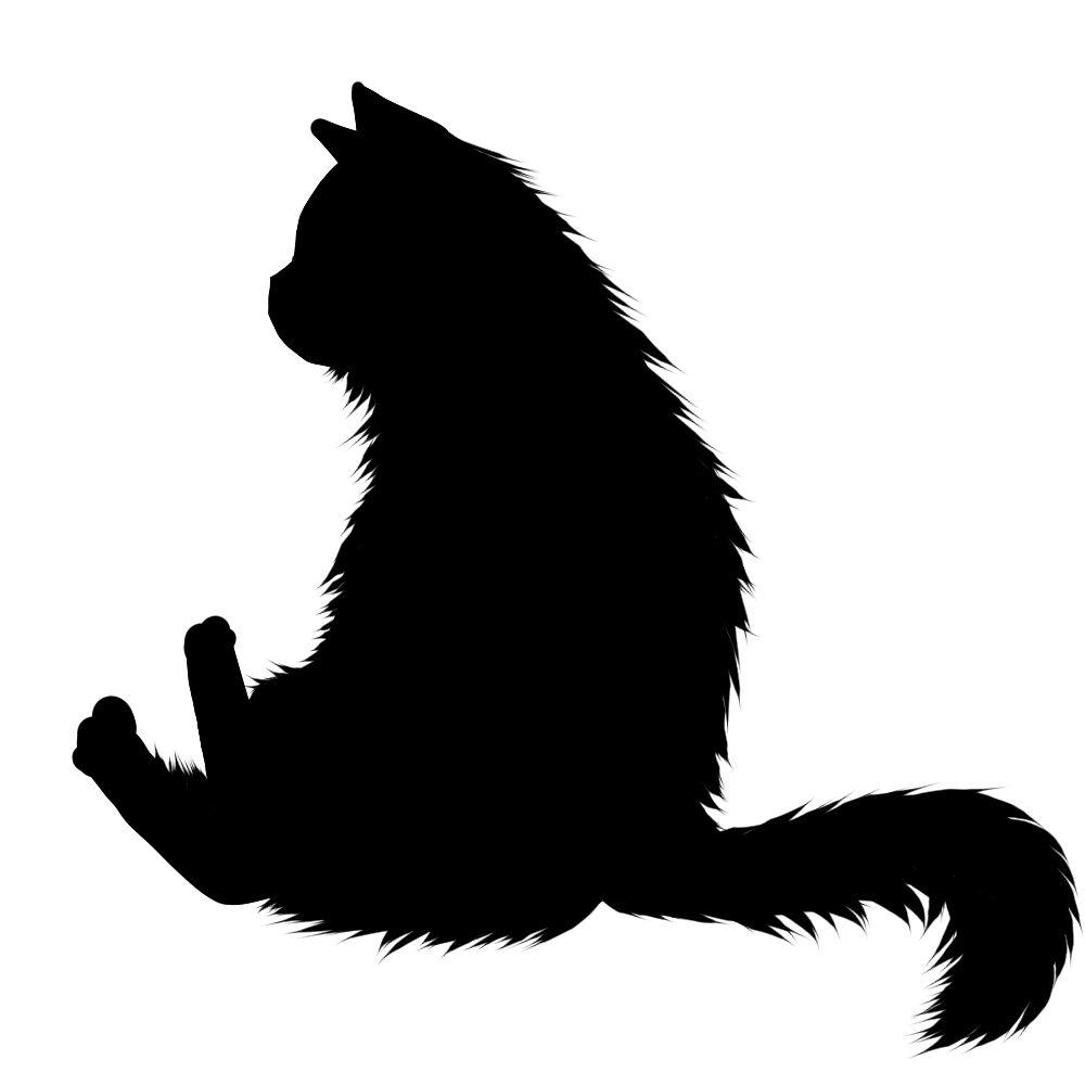 猫イラストシルエットおすわり猫7ブラック
