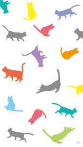 壁紙たくさんの猫のシルエットカラフル