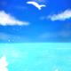 【スマホ用壁紙】青空と海と猫
