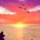 【スマホ用壁紙】夕焼け空と海と猫